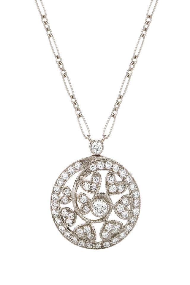 18K White Gold Diamond Swirl Pendant Necklace