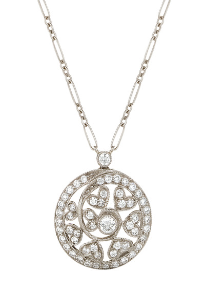 Kwiat - 18K White Gold Diamond Swirl Pendant Necklace
