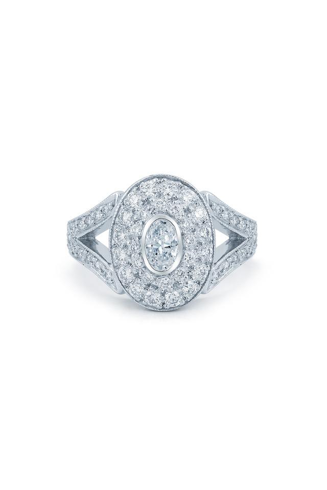 Rox Platinum Oval Pavé Diamond Ring