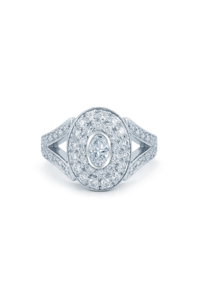 Kwiat - Rox Platinum Oval Pavé Diamond Ring