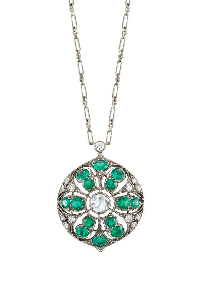 18K White Gold Emerald & Diamond Pendant Necklace