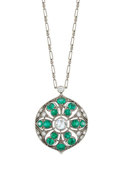 Kwiat - 18K White Gold Emerald & Diamond Pendant Necklace