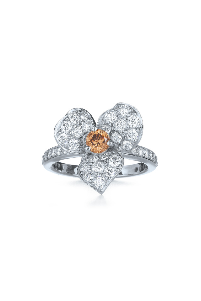 White Gold Diamond Floral Ring