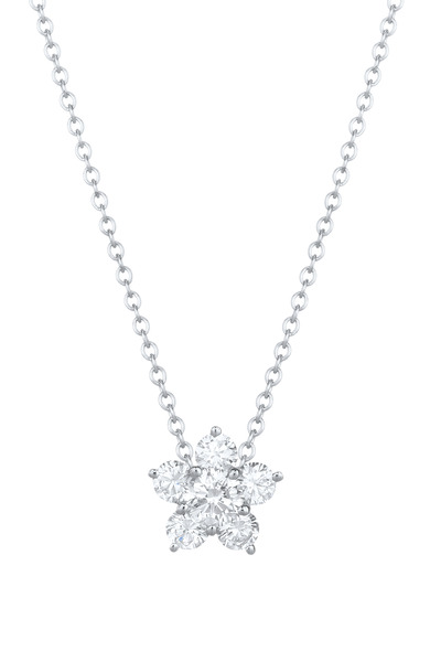 Kwiat - White Gold Diamond Cluster Pendant Necklace
