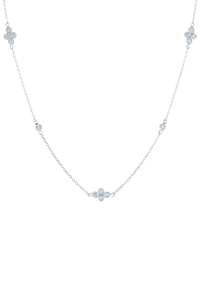 White Gold Diamond String Necklace