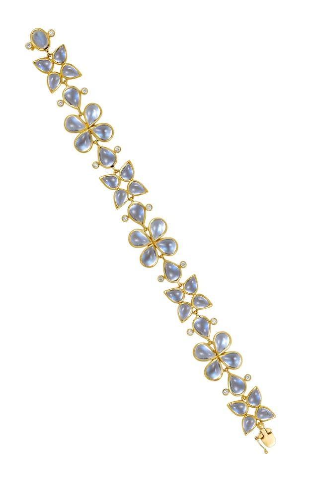 Flower Cluster Blue Moonstone Bracelet, Small