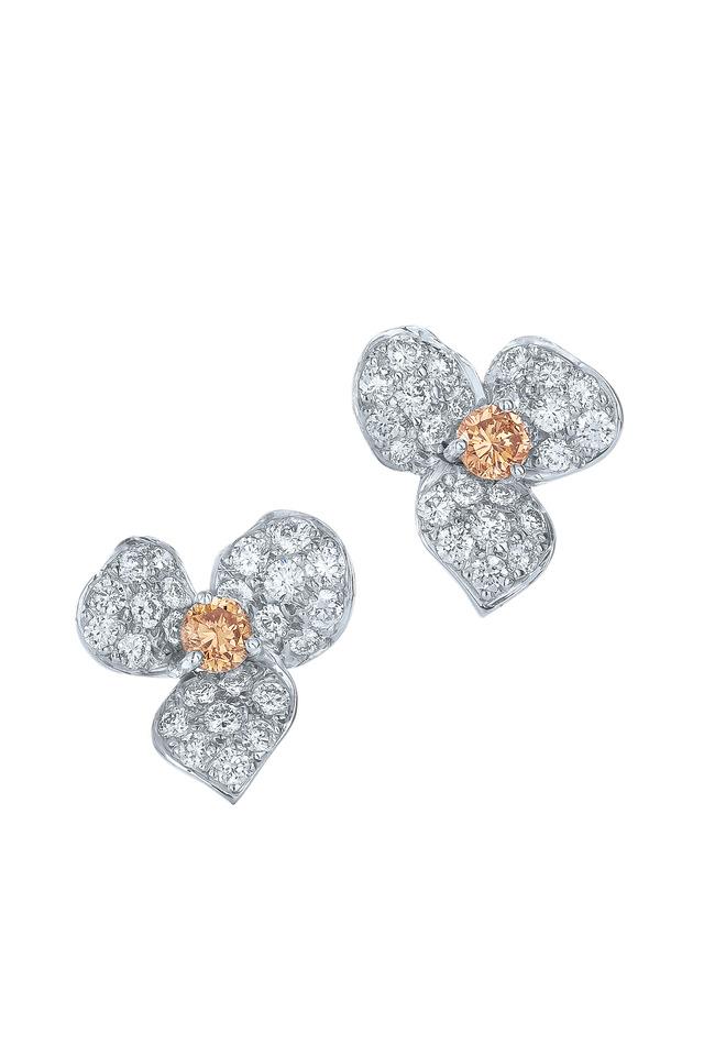 Floral White Gold Diamond Stud Earrings