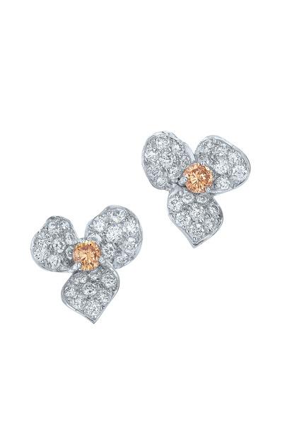 Kwiat - Floral White Gold Diamond Stud Earrings