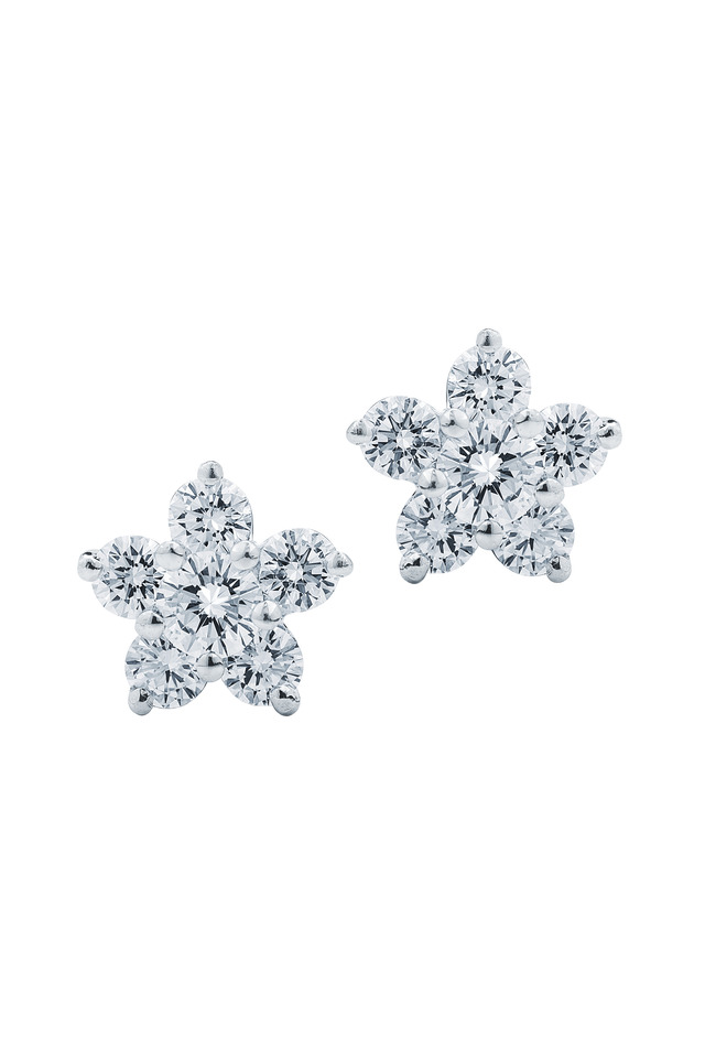 White Gold Diamond Flower Stud Earrings