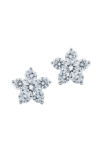 Kwiat - White Gold Diamond Flower Stud Earrings