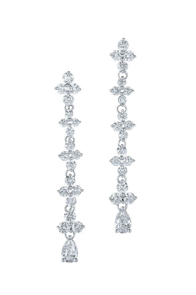 Jasmine White Gold Long Drop Diamond Earrings