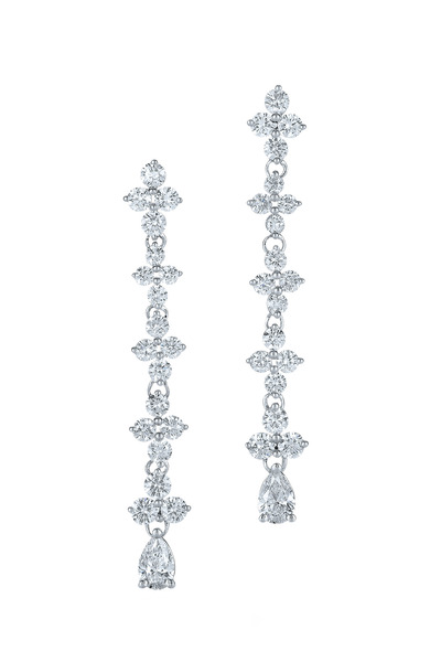Kwiat - Jasmine White Gold Long Drop Diamond Earrings