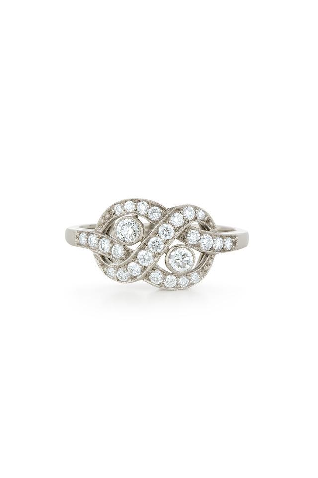 White Gold Loveknot Diamond Ring