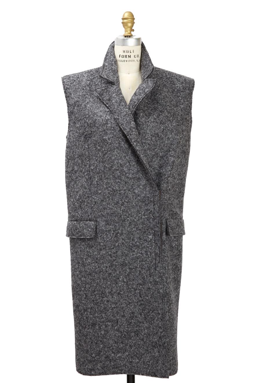Sleeveless Grey Felted Wool Coat
