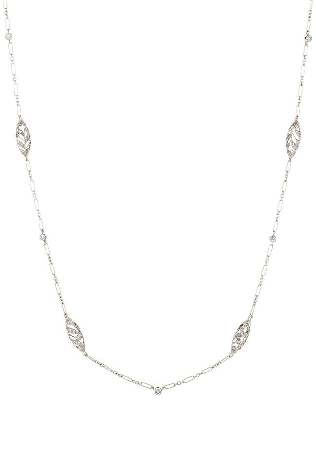 Vintage White Gold Diamond Chain Necklace