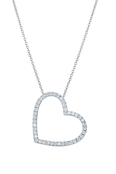 Kwiat - White Gold Diamond Heart Pendant Necklace