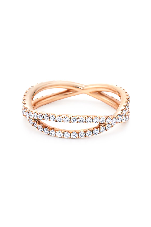 18K Pink Gold Diamond Band