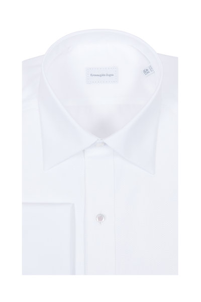 Ermenegildo Zegna - White Piqué French Cuff Dress Shirt