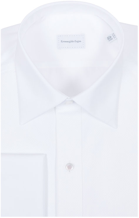 Ermenegildo Zegna White Piqué French Cuff Dress Shirt