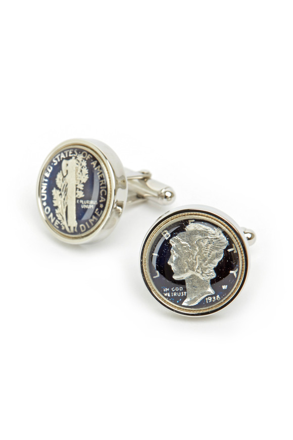 David Donahue Sterling Silver Dark Blue Dime Cuff Links