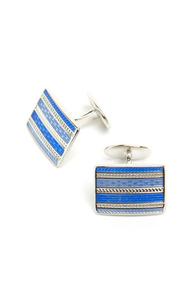 David Donahue - Sterling Silver Light Blue Rectangle Cuff Links