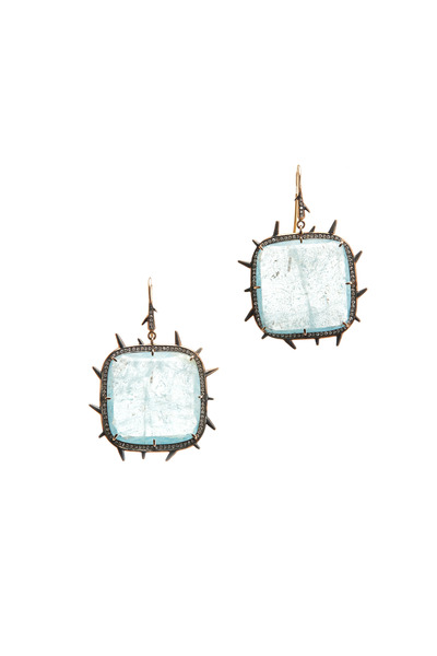 Sylva & Cie - Rose Gold Aquamarine Diamond Earrings