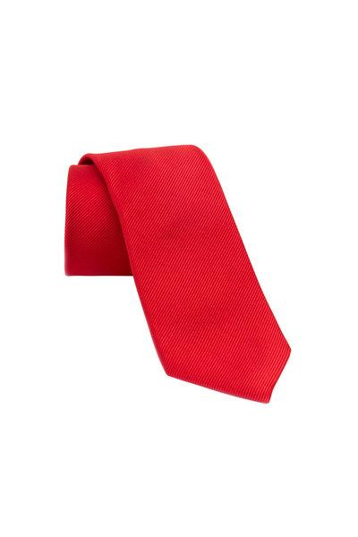David Donahue - Red Woven Silk Necktie