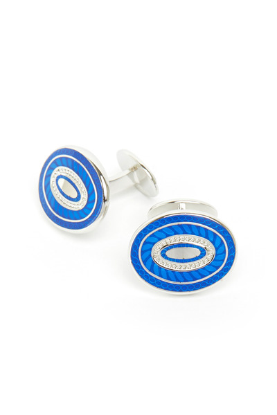 David Donahue - Sterling Silver Blue Double Circle Cuff Links