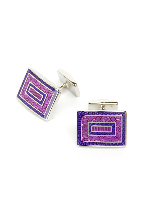 David Donahue Sterling Silver Purple Square Cuff Links