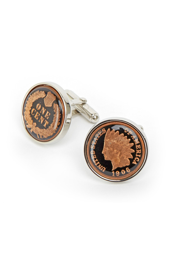 David Donahue Sterling Silver Black Penny Cuff Links
