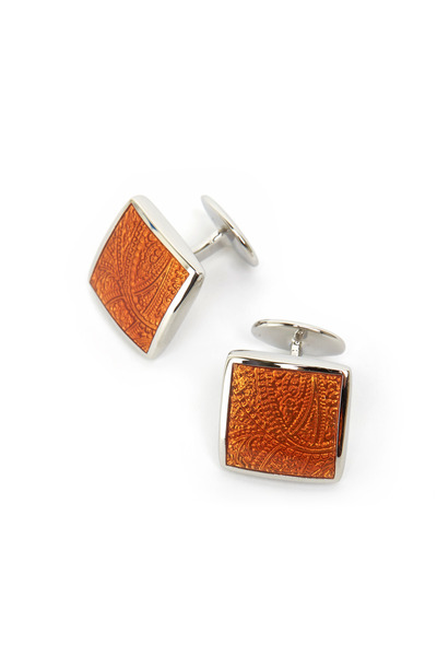 David Donahue - Sterling Silver Rust Orange Paisley Cuff Links