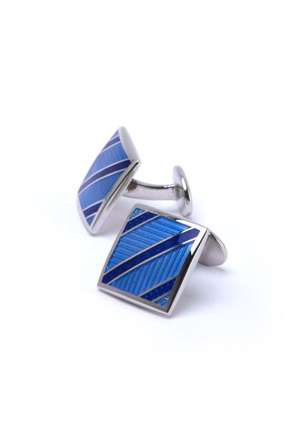 David Donahue Sterling Silver Blue Striped Square Cuff Links