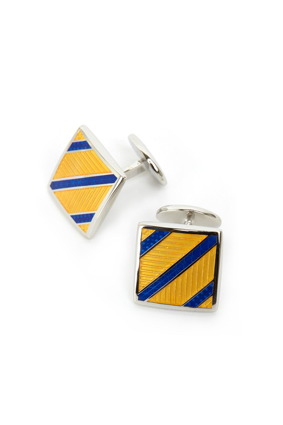 David Donahue Sterling Silver Yellow Striped Square Cuff Links