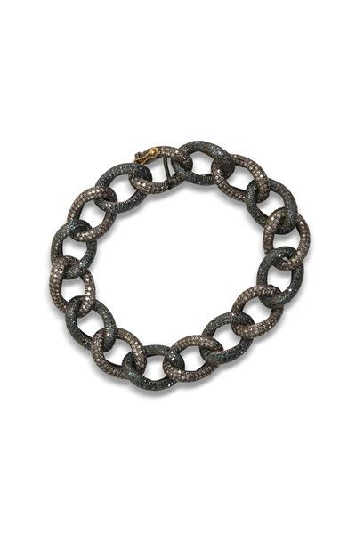 Loren Jewels - Blue And Champagne Diamond Link Gold Bracelet