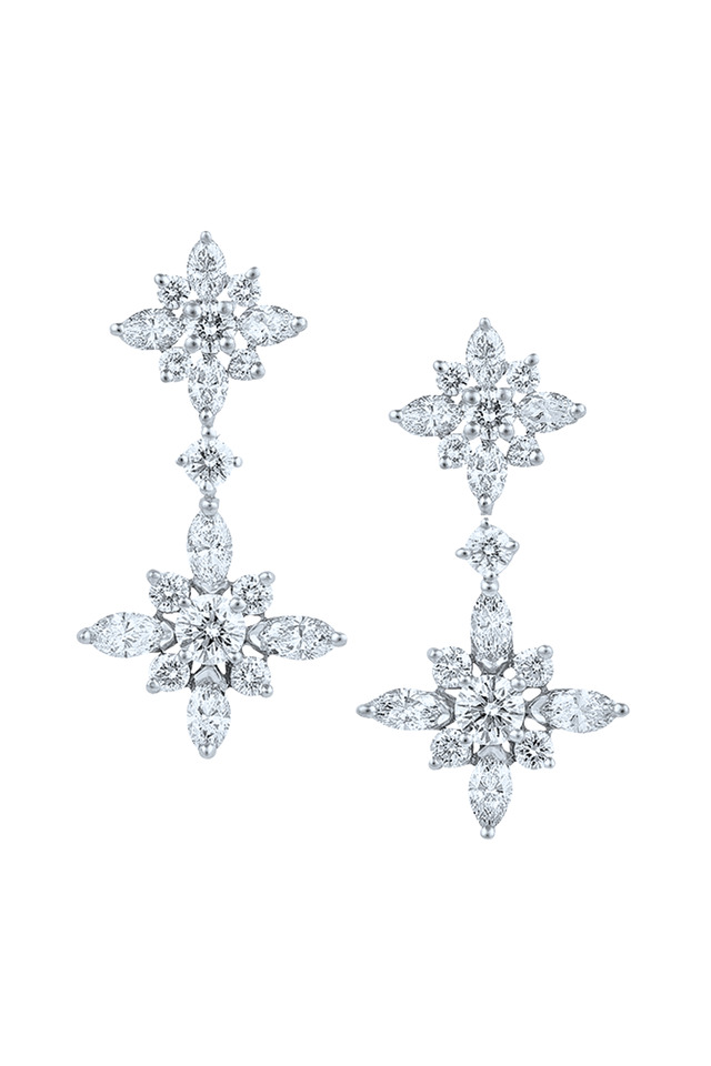 Star Platinum White Diamond Double Drop Earrings