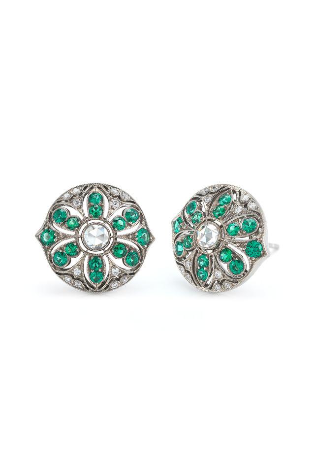 18K White Gold Emerald & Diamond Earrings