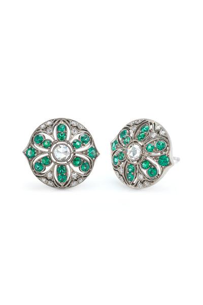 Kwiat - 18K White Gold Emerald & Diamond Earrings