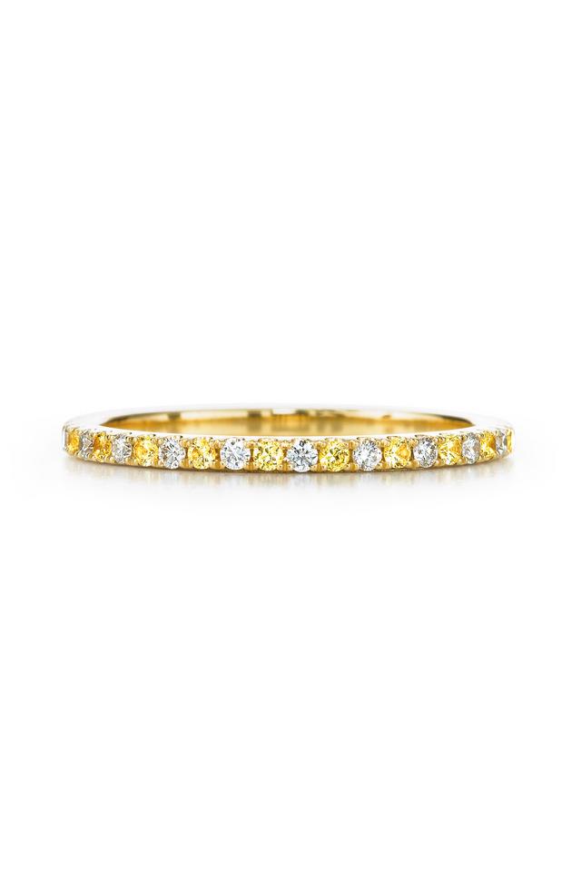 18K Yellow Gold Diamond & Yellow Sapphire Band