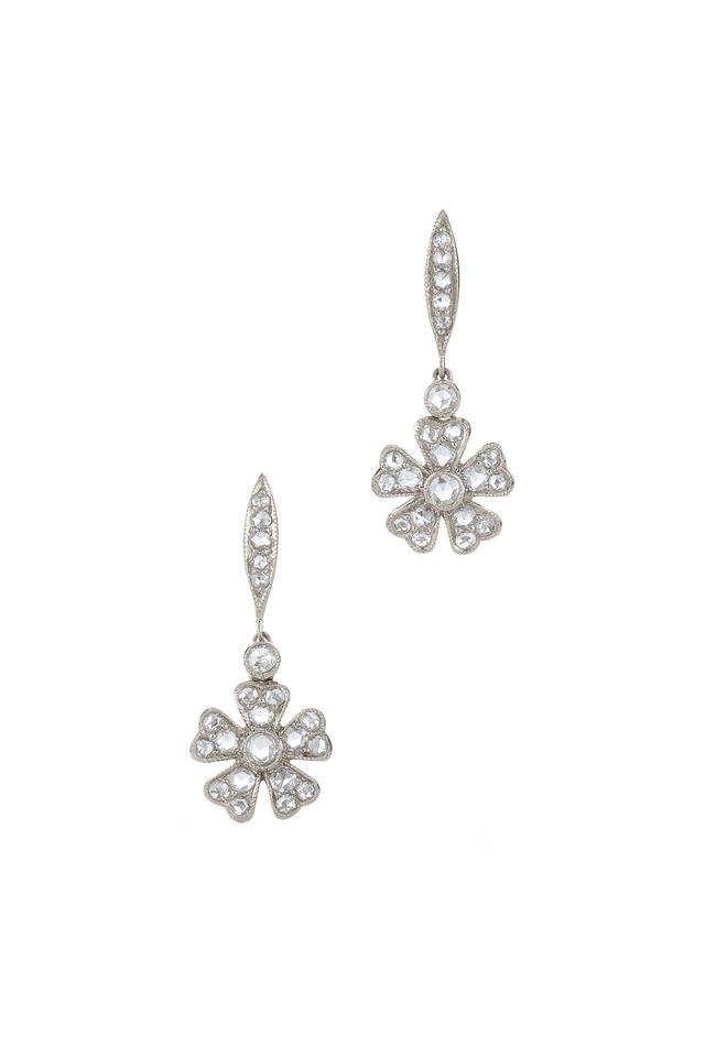 Vintage White Gold Diamond Earrings