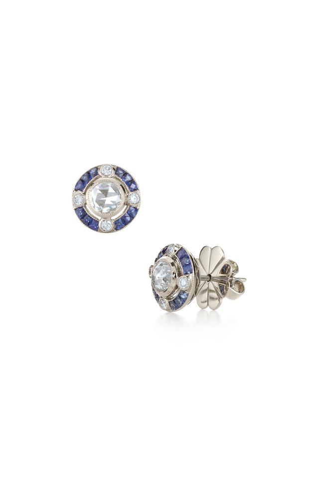 White Gold Diamond & Sapphire Earrings
