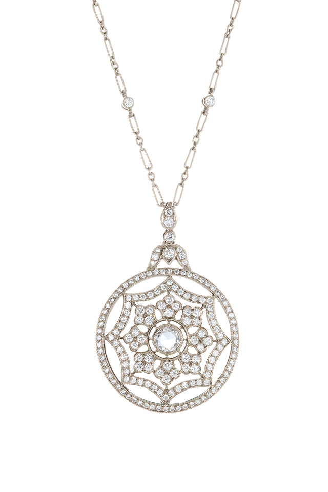 18K White Gold Diamond Pendant Necklace
