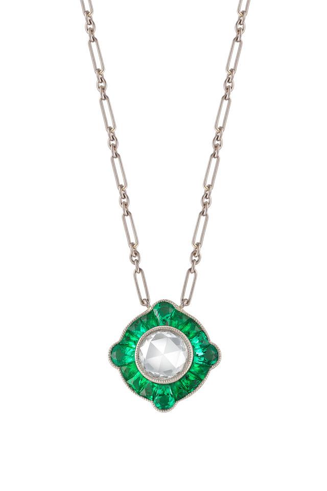 Vintage White Gold Emerald Diamond Pendant
