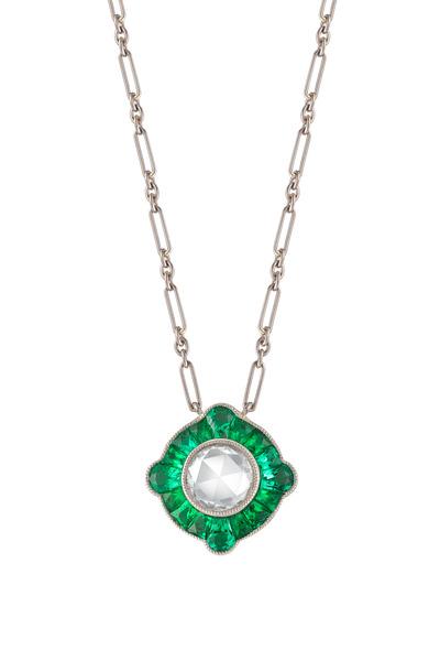 Kwiat - Vintage White Gold Emerald Diamond Pendant