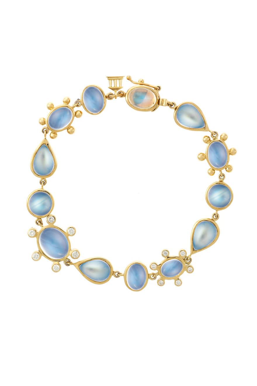 Blue Moonstone Diamond Halo Bracelet