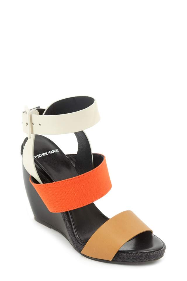 Tricolor Calf Leather Strappy Wedges