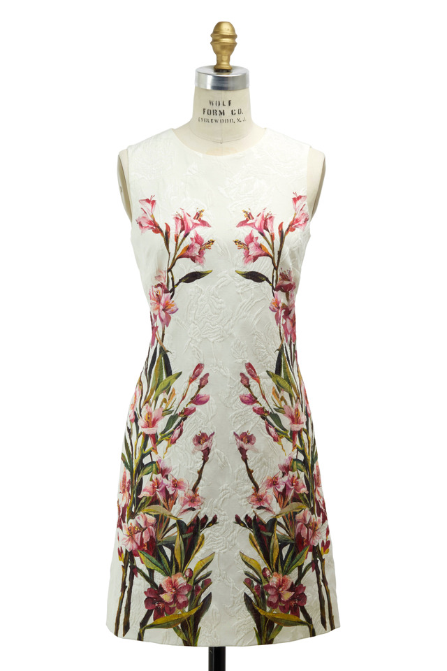 White Embroidered Jaquard Olean Dress