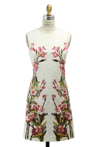 Dolce & Gabbana - White Embroidered Jaquard Olean Dress