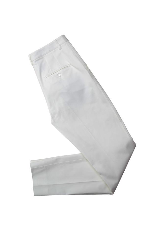 White Cotton Slim Pants
