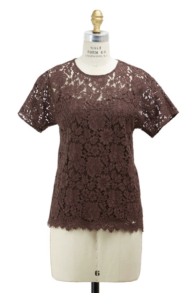 Dolce & Gabbana - Brown Lace Short Sleeve Blouse