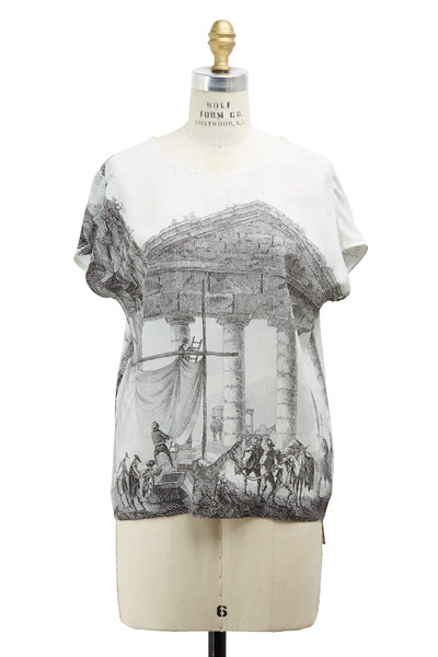 Dolce & Gabbana - Black & White Silk Cady Print Top